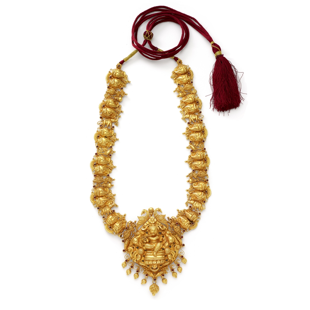 22k Golden Krishna Temple Necklace