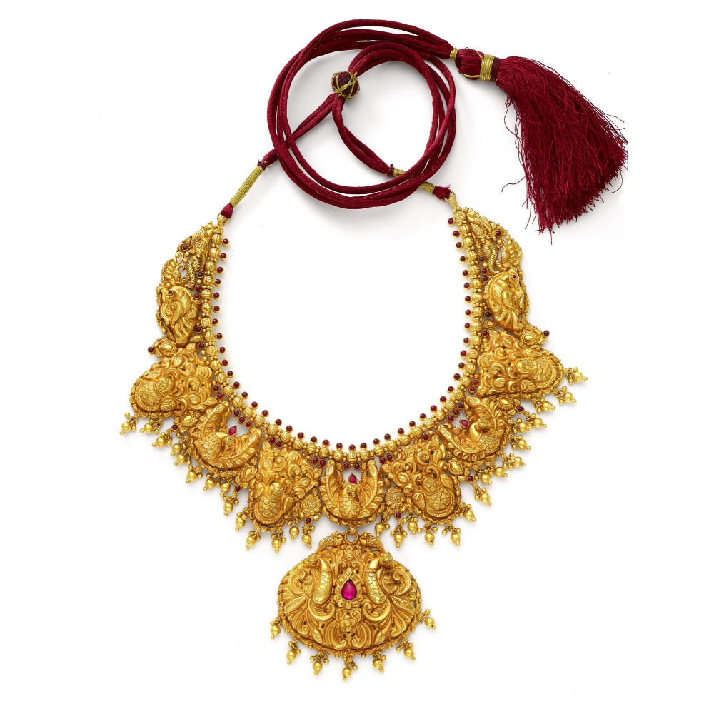 22k Golden Peacock Temple Necklace Set