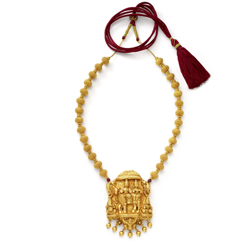 22k Golden Shiva and Parvati Temple Necklace Set