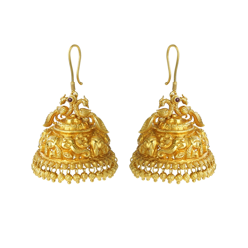 Temple Style Peacock And Elephant Jhumka Earrings