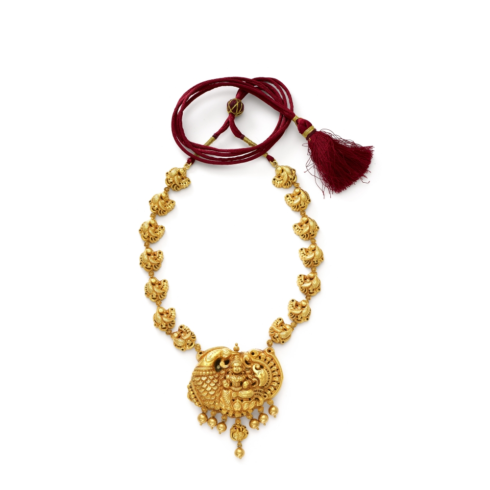 22k Golden Temple Style Lakshmi Necklace Set