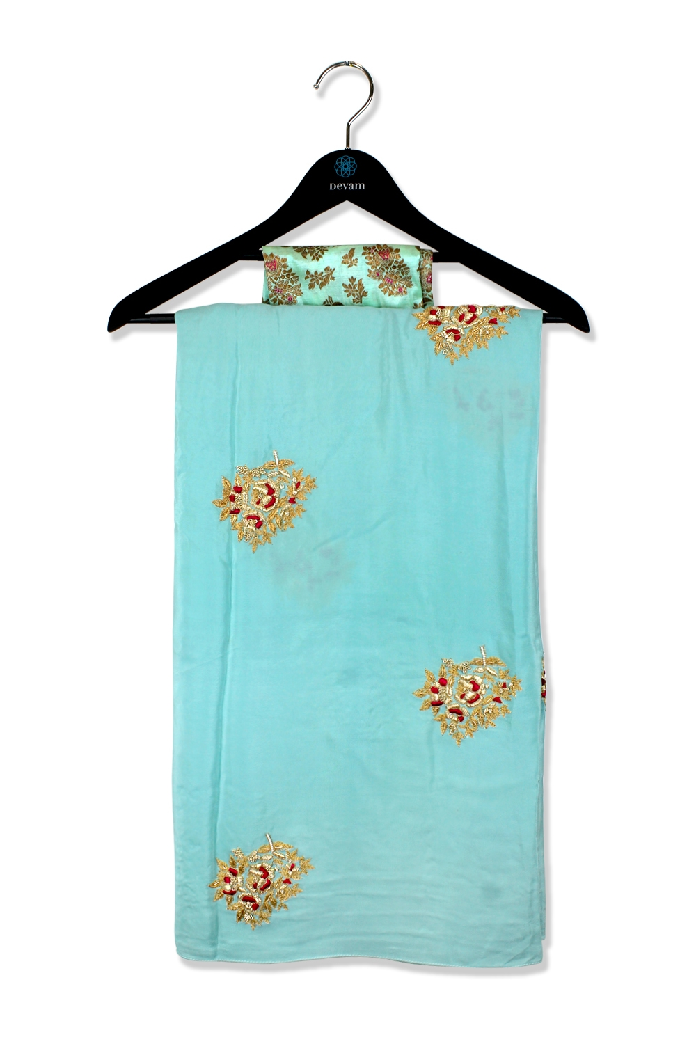 Turquoise And Golden Hand Embroidered Silk Saree