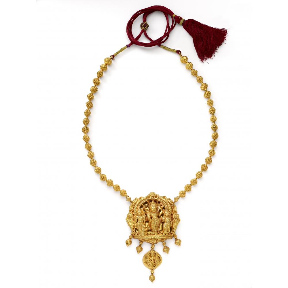 22k Temple Style Ram Darbar Necklace Set
