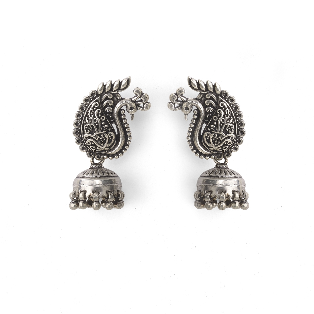 Silver Jhumka Peacock Earrings