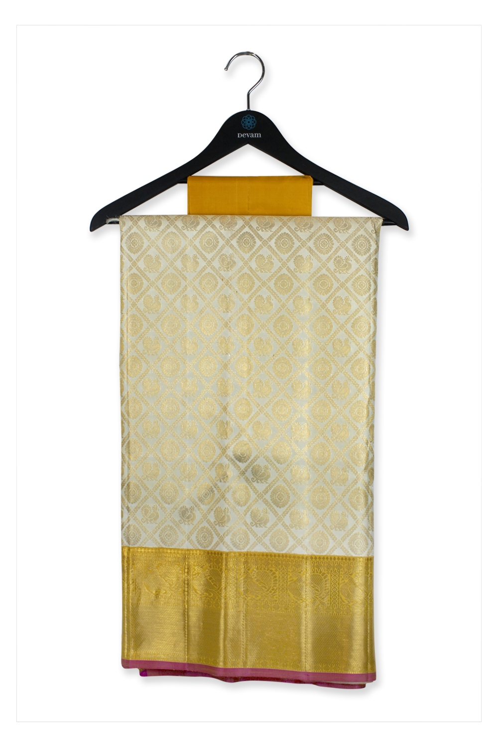 Real Jari Golden Morchakra Checkered Kanjeevaram Silk Saree