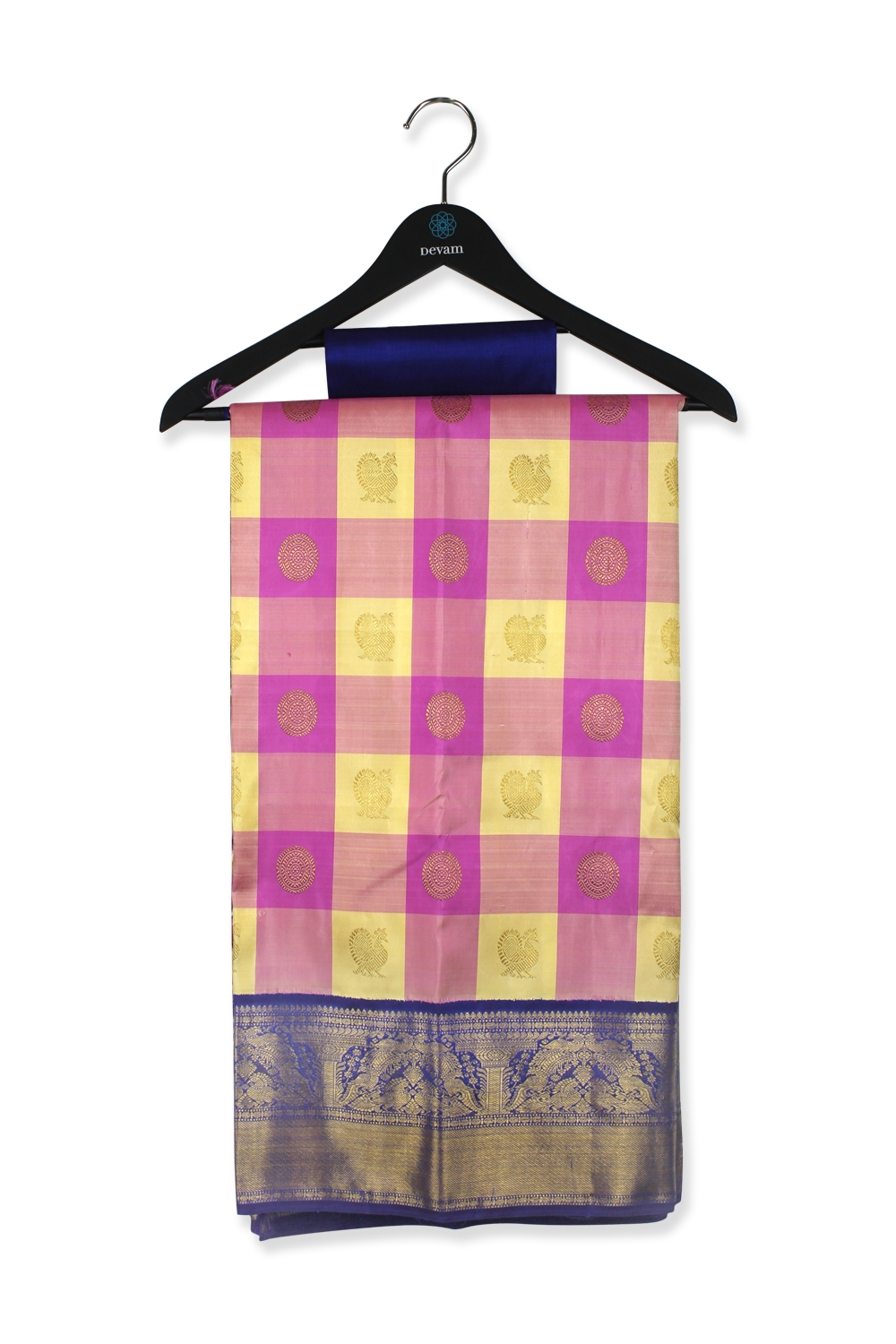 Real Jari Pink And Yellow Checkered Silk Kanjeevaram Saree
