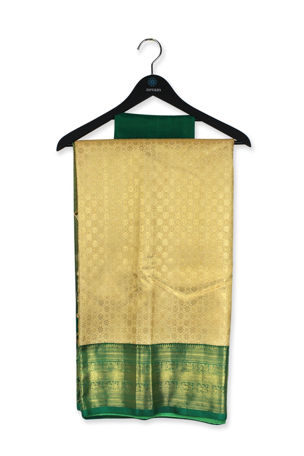 Real Jari Handloom Silk Green And Gold Kanjeevaram Saree