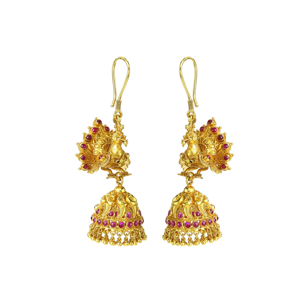 Temple Style Peacock Jhumki Earrings