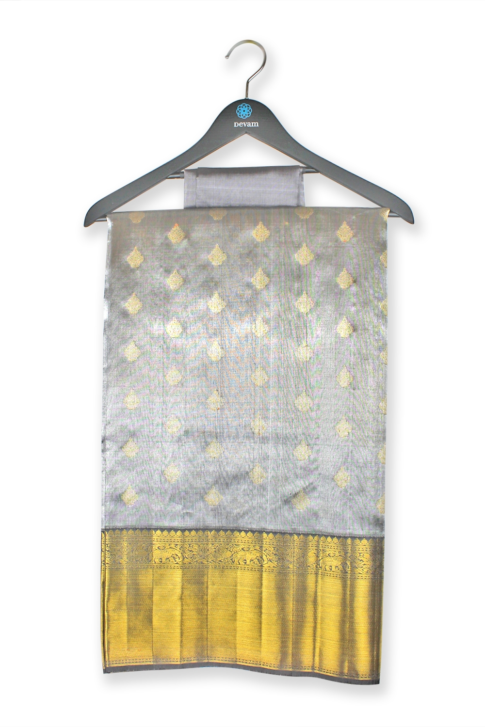 Real Jari Silver And Gold Silk Kanjeevaram Saree