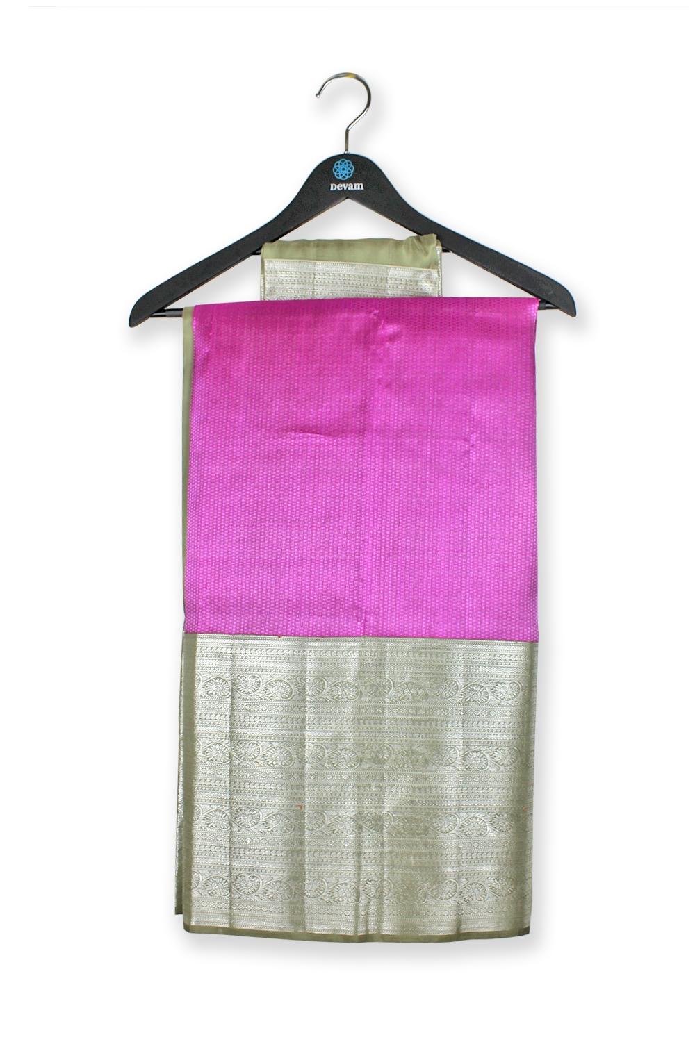Fuchsia Real Jari Gold Silk Kanjeevaram Saree