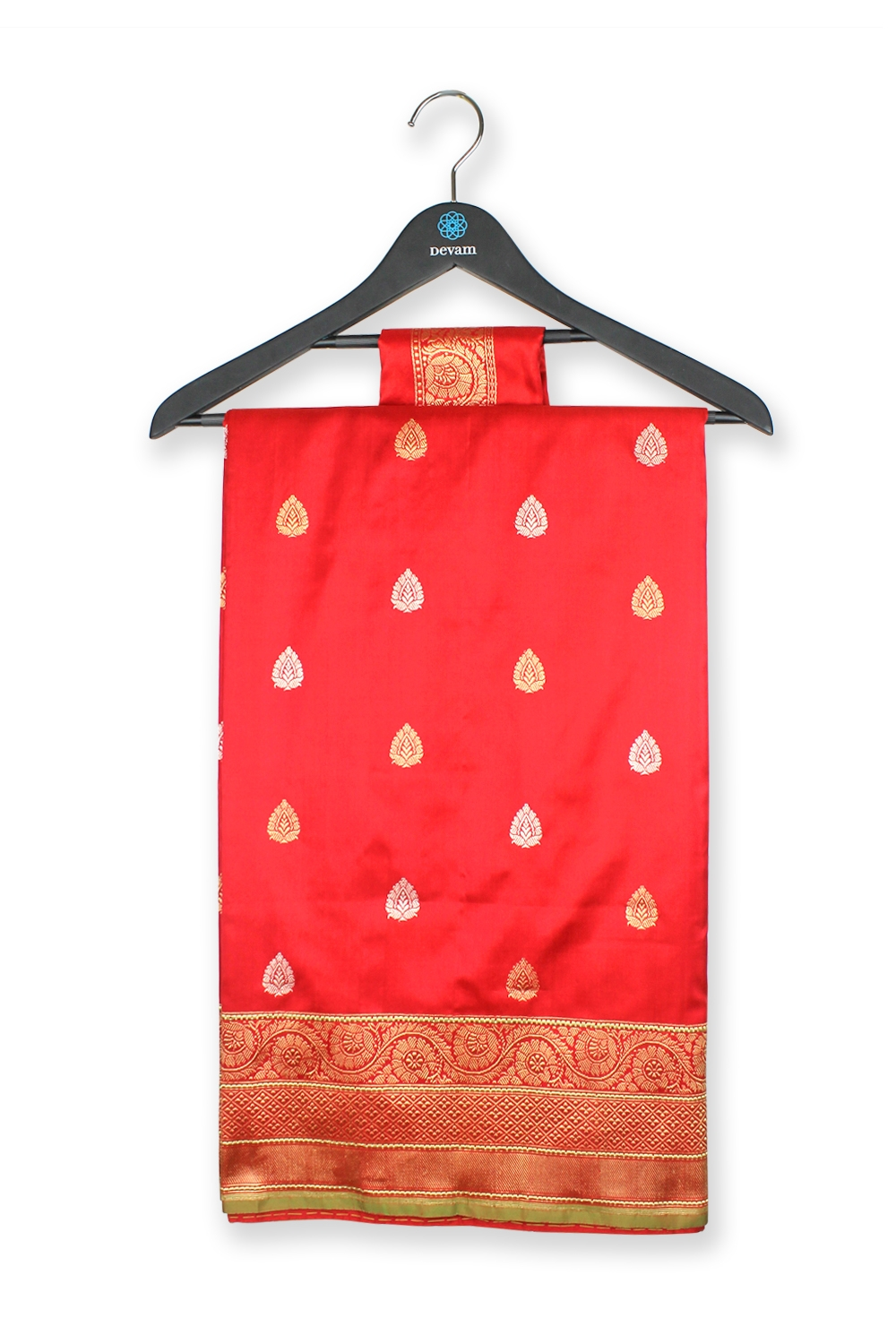 Bright Red Silk Banarasi Saree