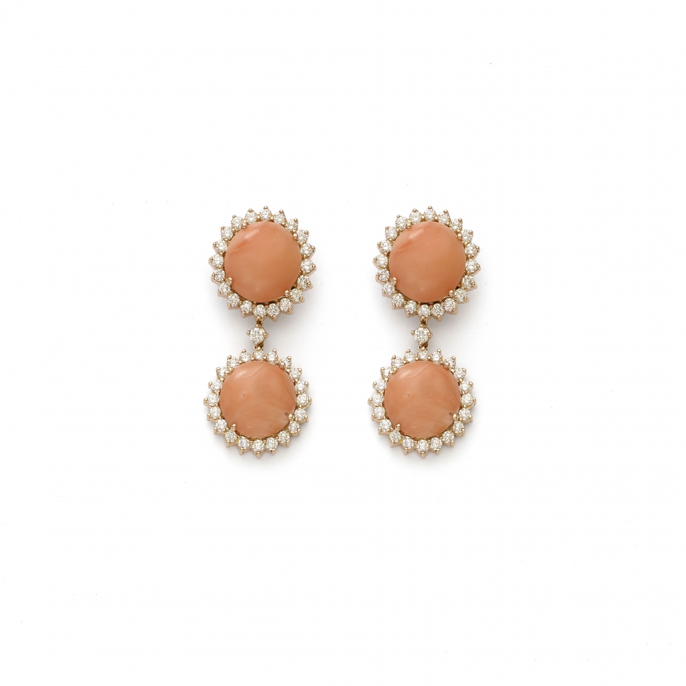18k Rose Gold Diamond Drop Stud Dangle Coral Earrings