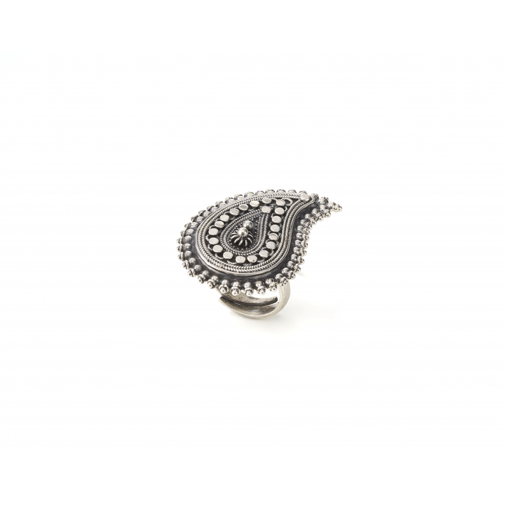 Sterling Silver Paisley Motif Ring