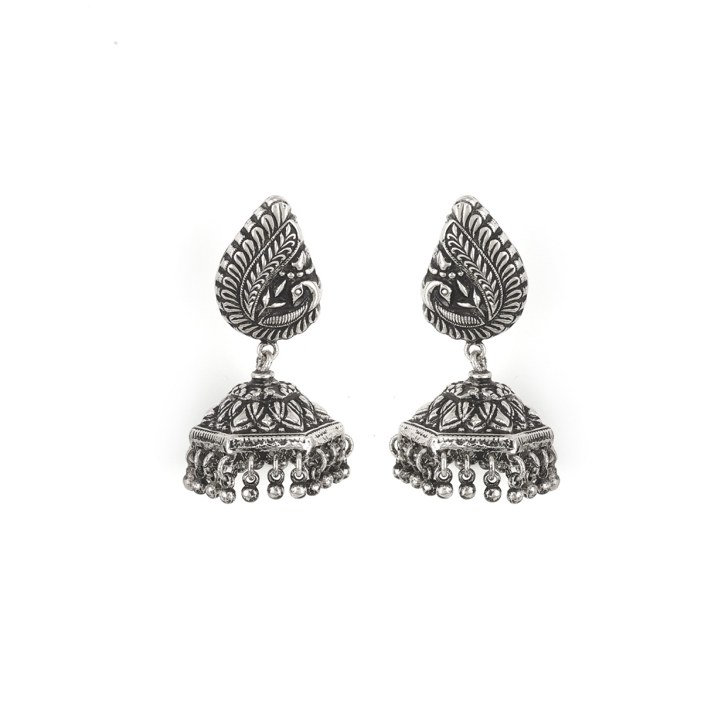 Sterling Silver Floral And Peacock Motif Jhumka Earrings