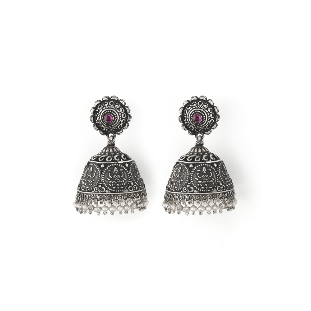 Sterling Silver Jhumki Deity Earrings