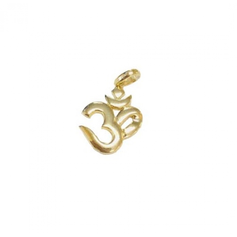 """Ohm"" Symbol 18k Gold Smooth Polish Pendant"