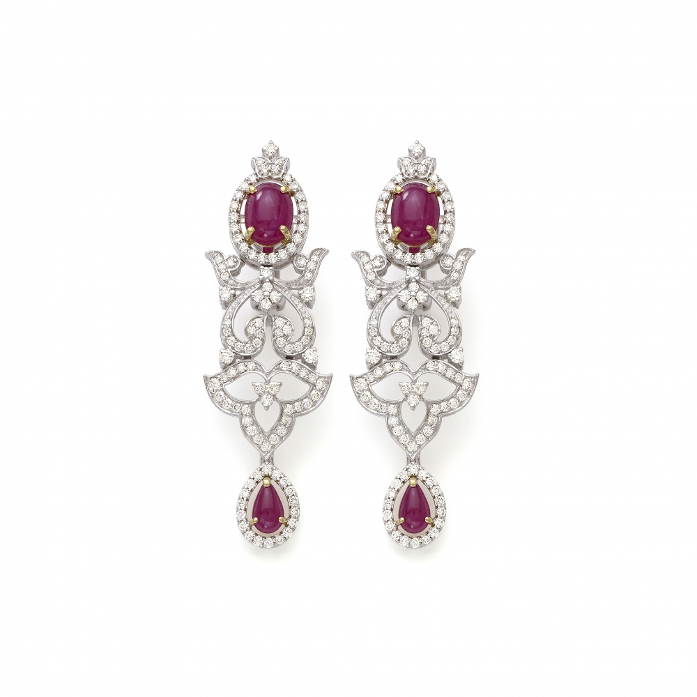 Ruby Set 18k White Gold Diamond Floral Drop Dangle Earrings
