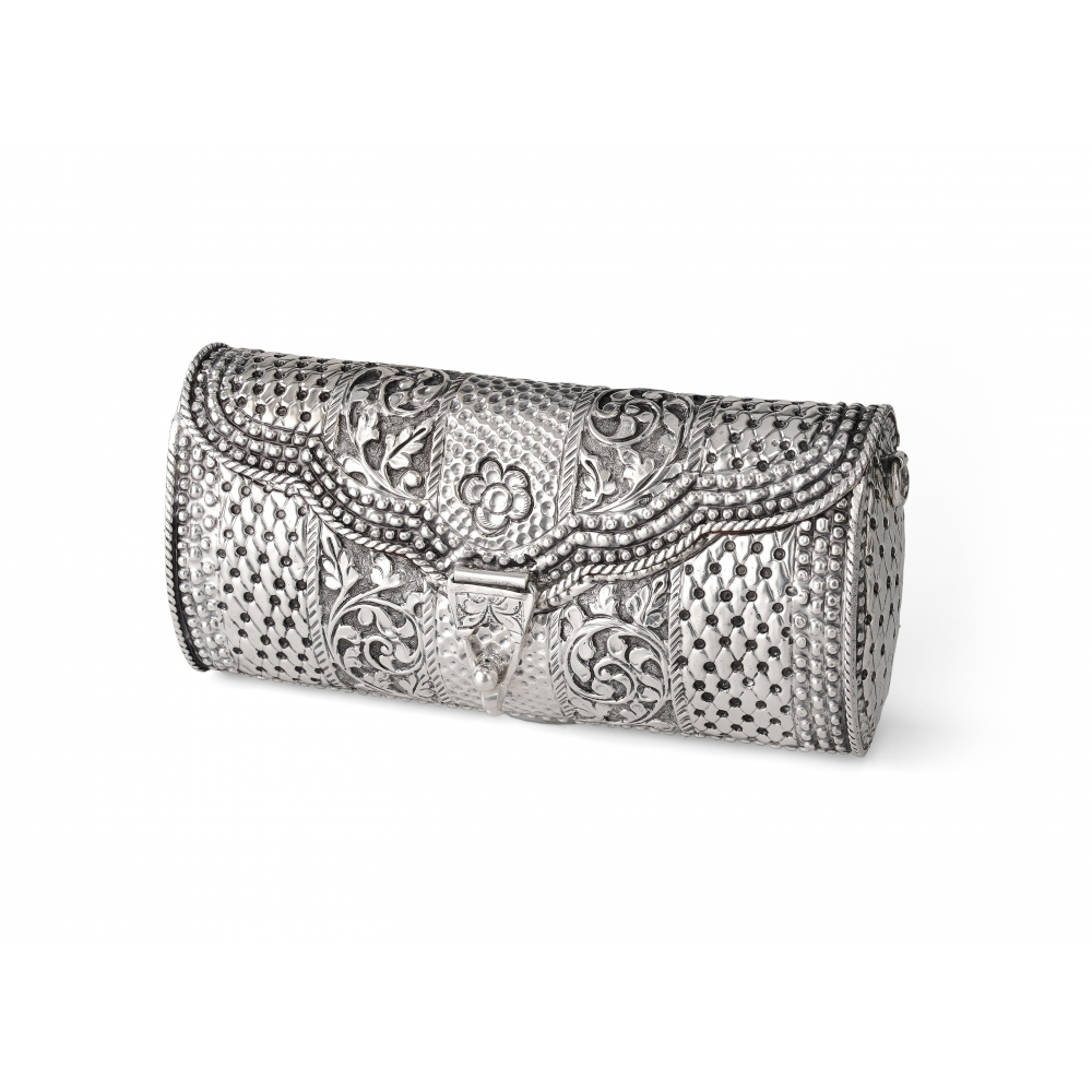 Sterling Silver Floral Clutch Purse