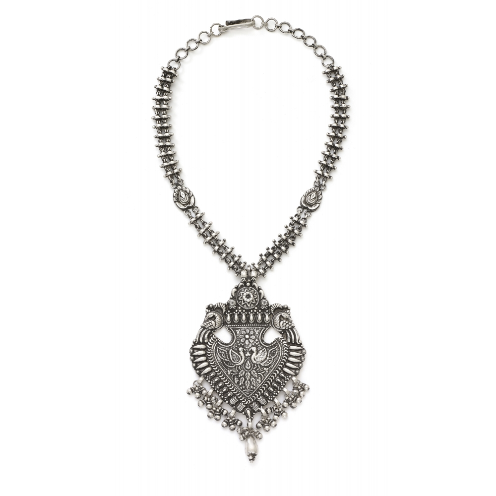 Sterling Silver Peacock Spade Necklace