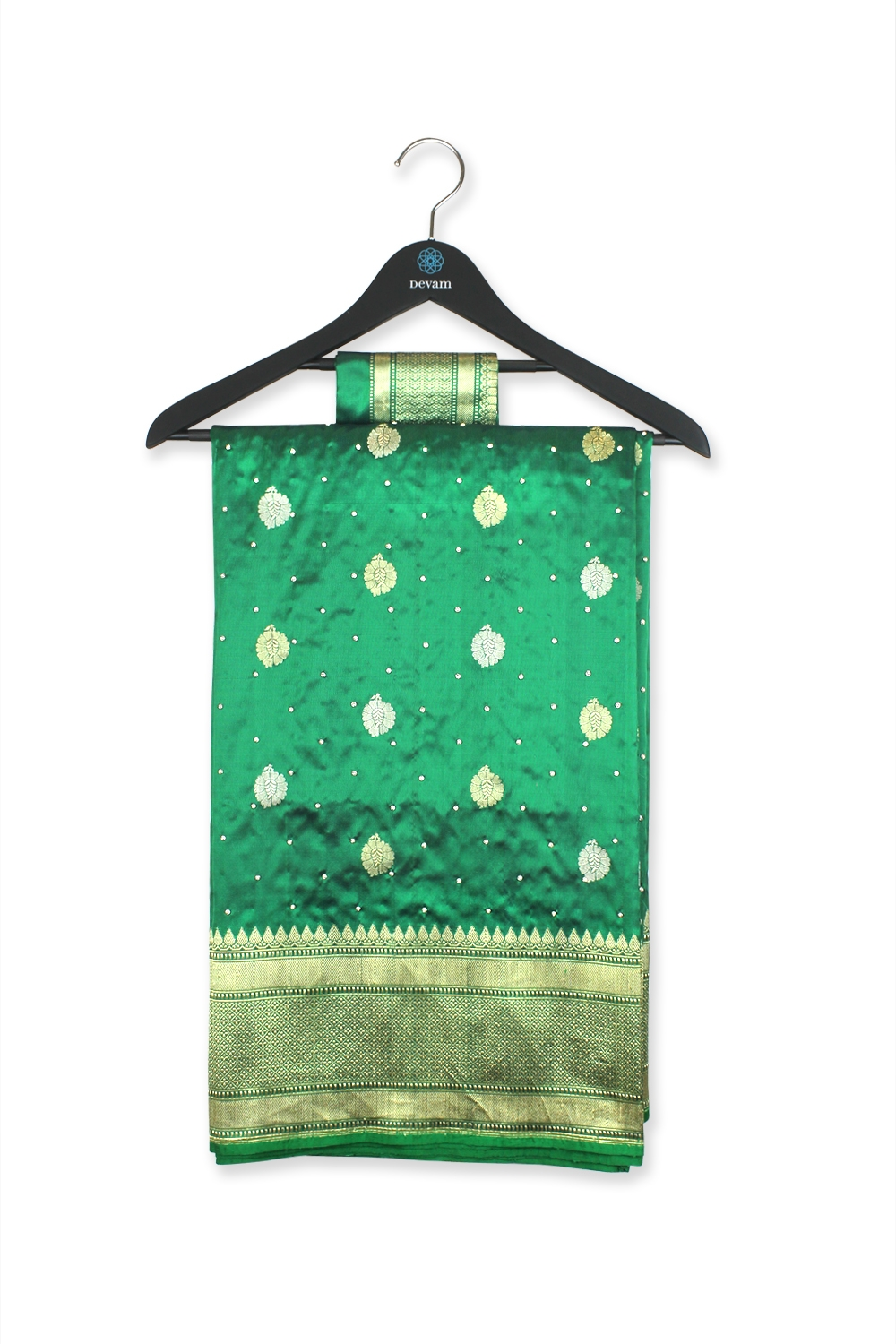 Emerald Green Hand Embroidered Georgette Banarasi Saree