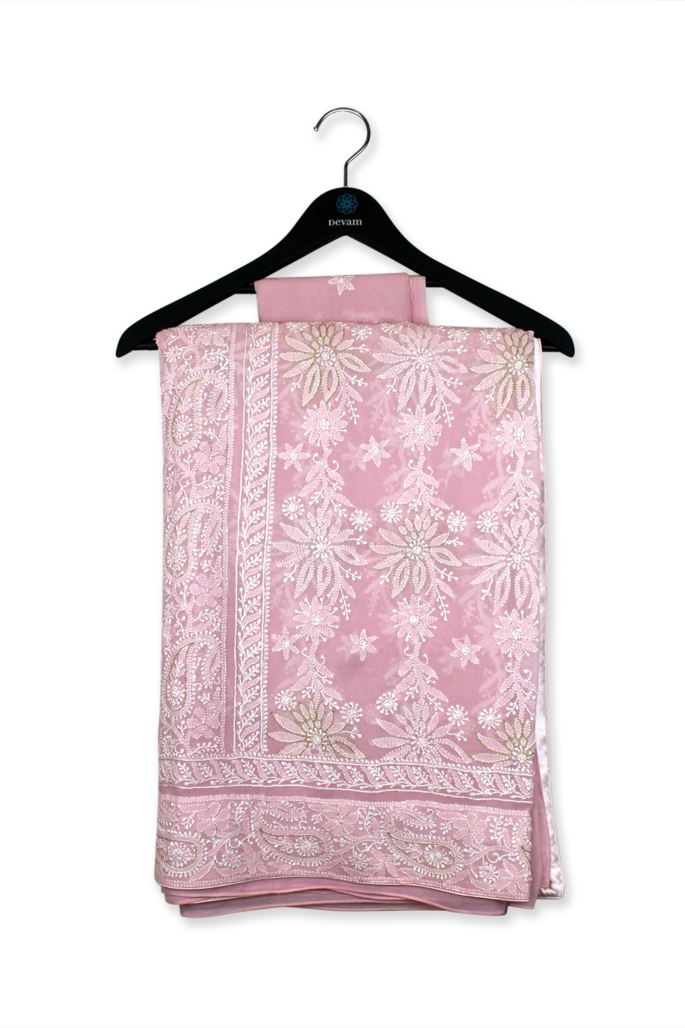 Blush Pink Hand Embroidered Lucknowi Georgette Saree