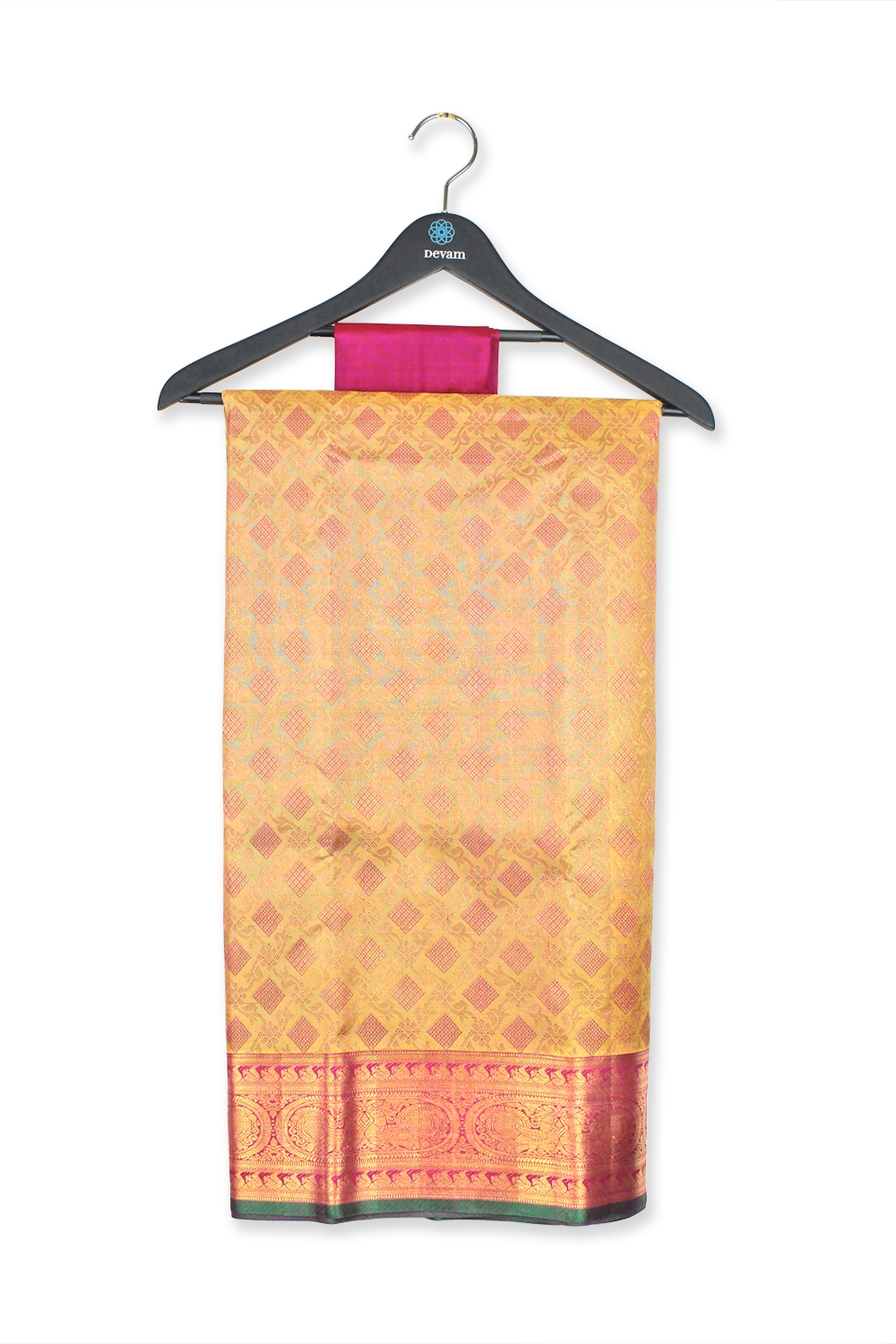 Energetic Golden Real Jari Silk Kanjeevaram Saree