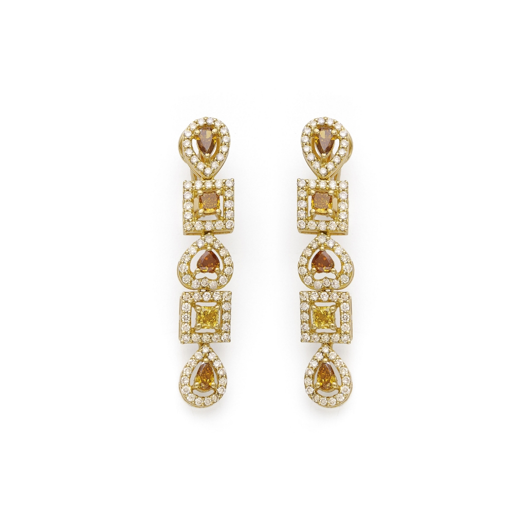 18k Gold Fancy Color Dangle Drop Earrings