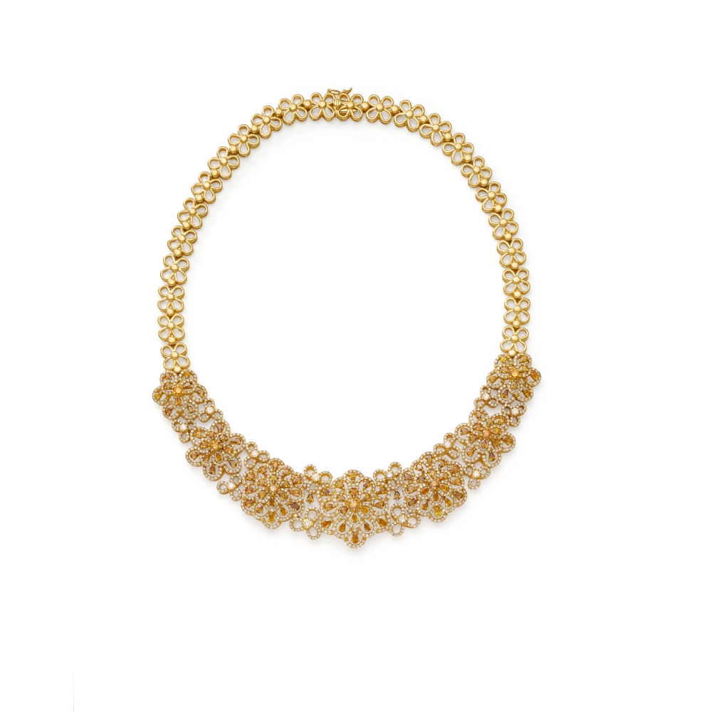 18k Golden Fancy Color Diamond Floral Necklace