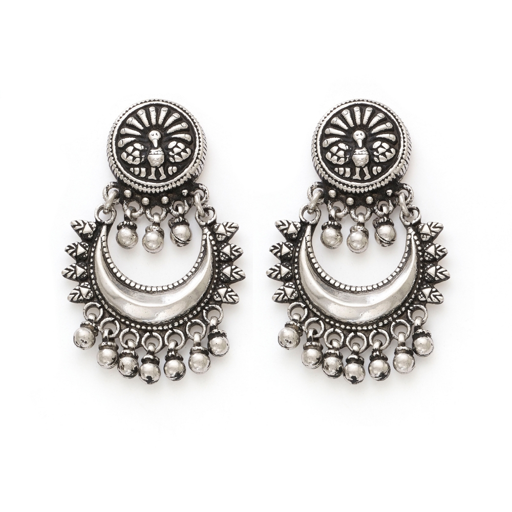 Pure Sterling Silver Crescent Peacock Chandbali Earrings