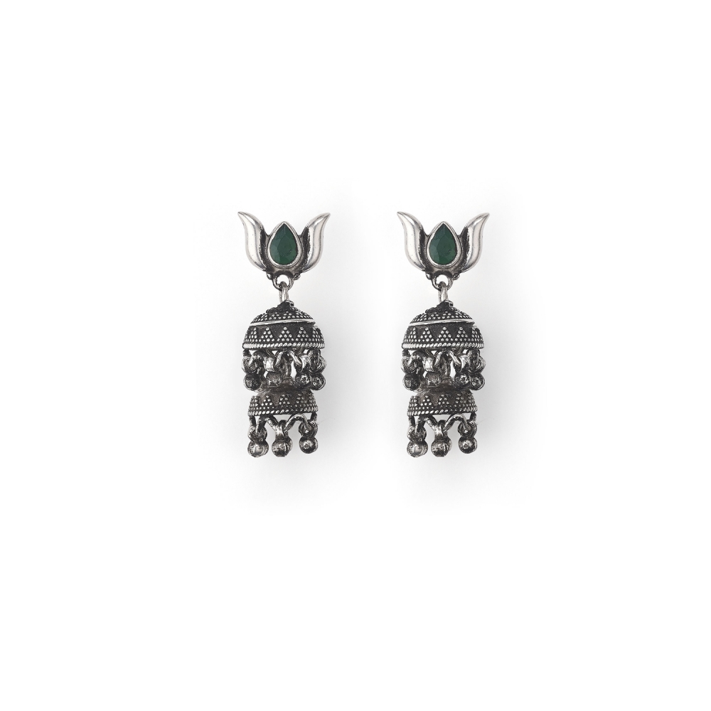 Sterling Silver Temple Textured Jhumka Earrings