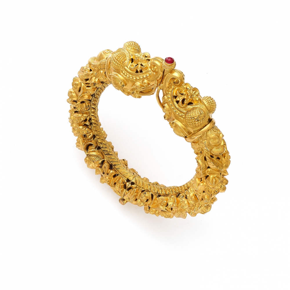 22k Gold Temple Elephant Style Bangle Bracelet