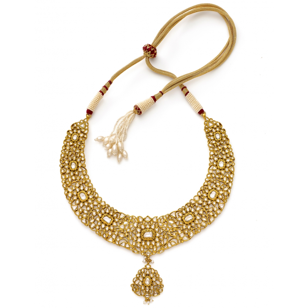 22k Golden Polki Peacock Garden Necklace Set
