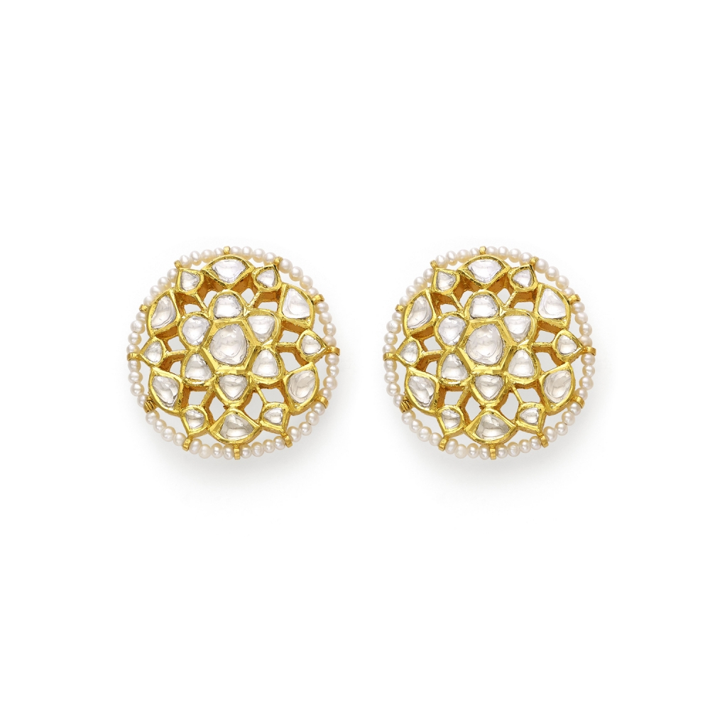 22k Polki Diamond & Pearl Floral Stud Earrings