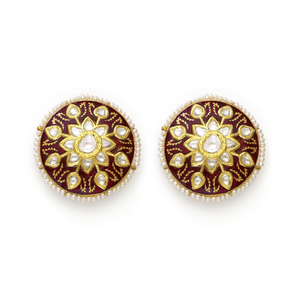 22k Polki Diamond & Pearl Floral Meenakari Stud Earrings