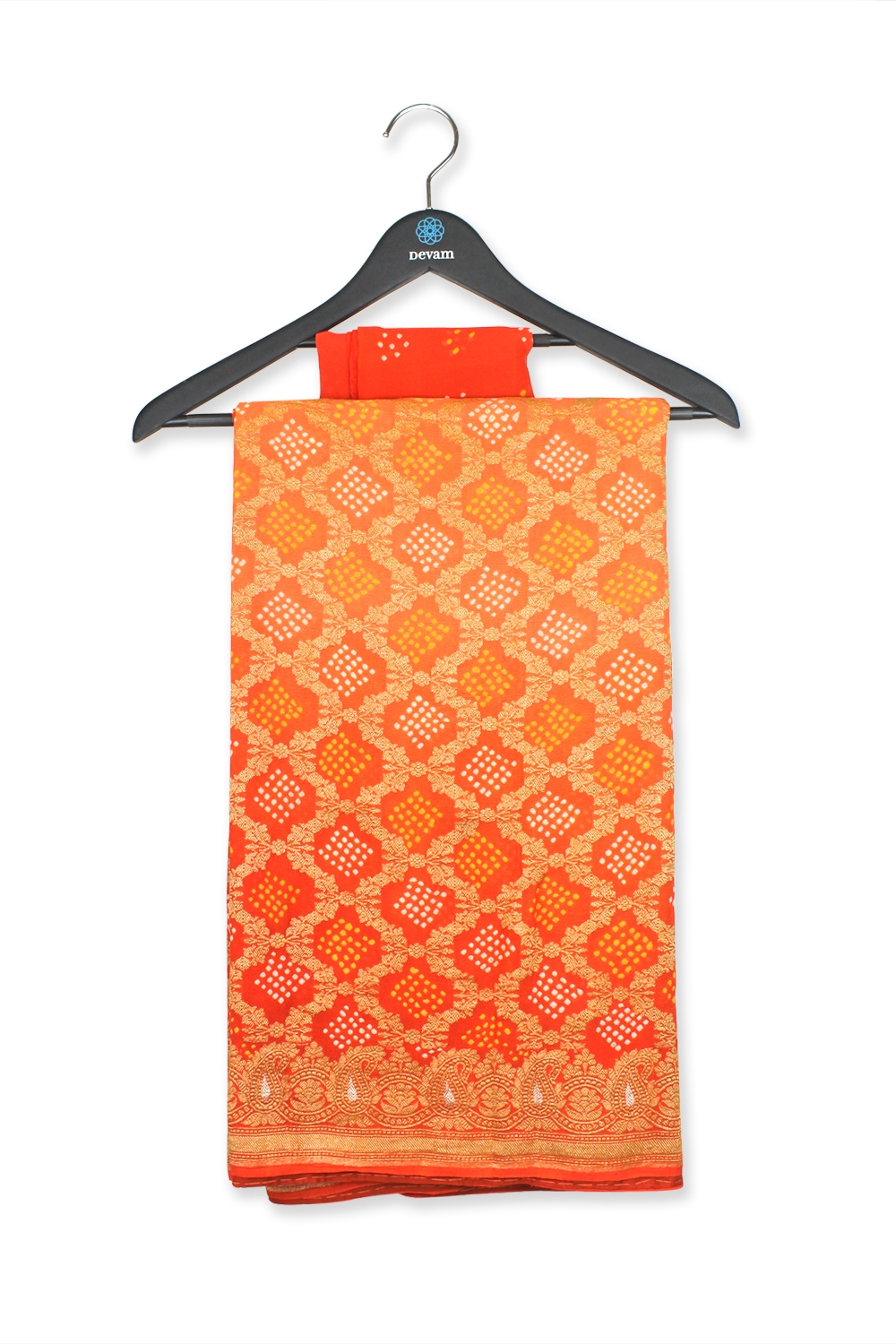 Sunset Orange Handloom Bandhej Brocade Georgette Saree