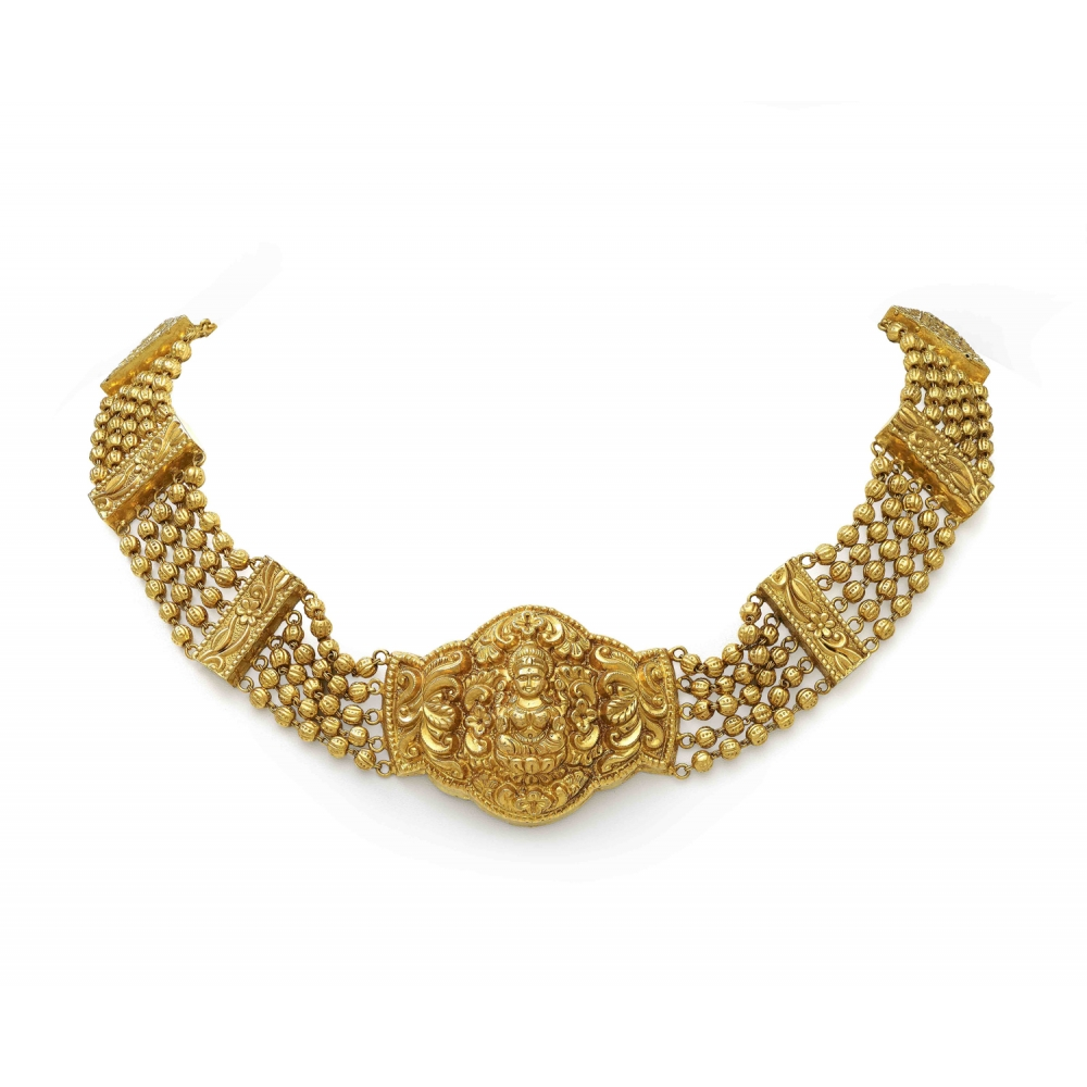 22k Yellow Gold Deity Temple Choker Necklace