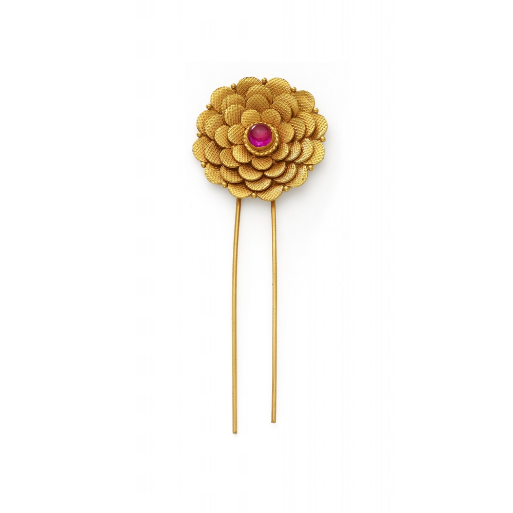 22k Yellow Gold Blossoming Flower Ambada Pin