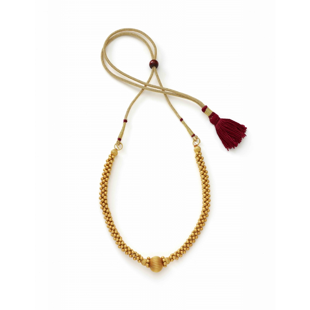 22k Yellow Gold Thushi Choker Orb Center Necklace