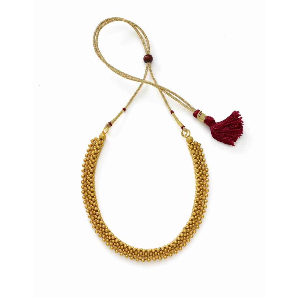 22k Yellow Gold Traditional Thushi Choker Necklace
