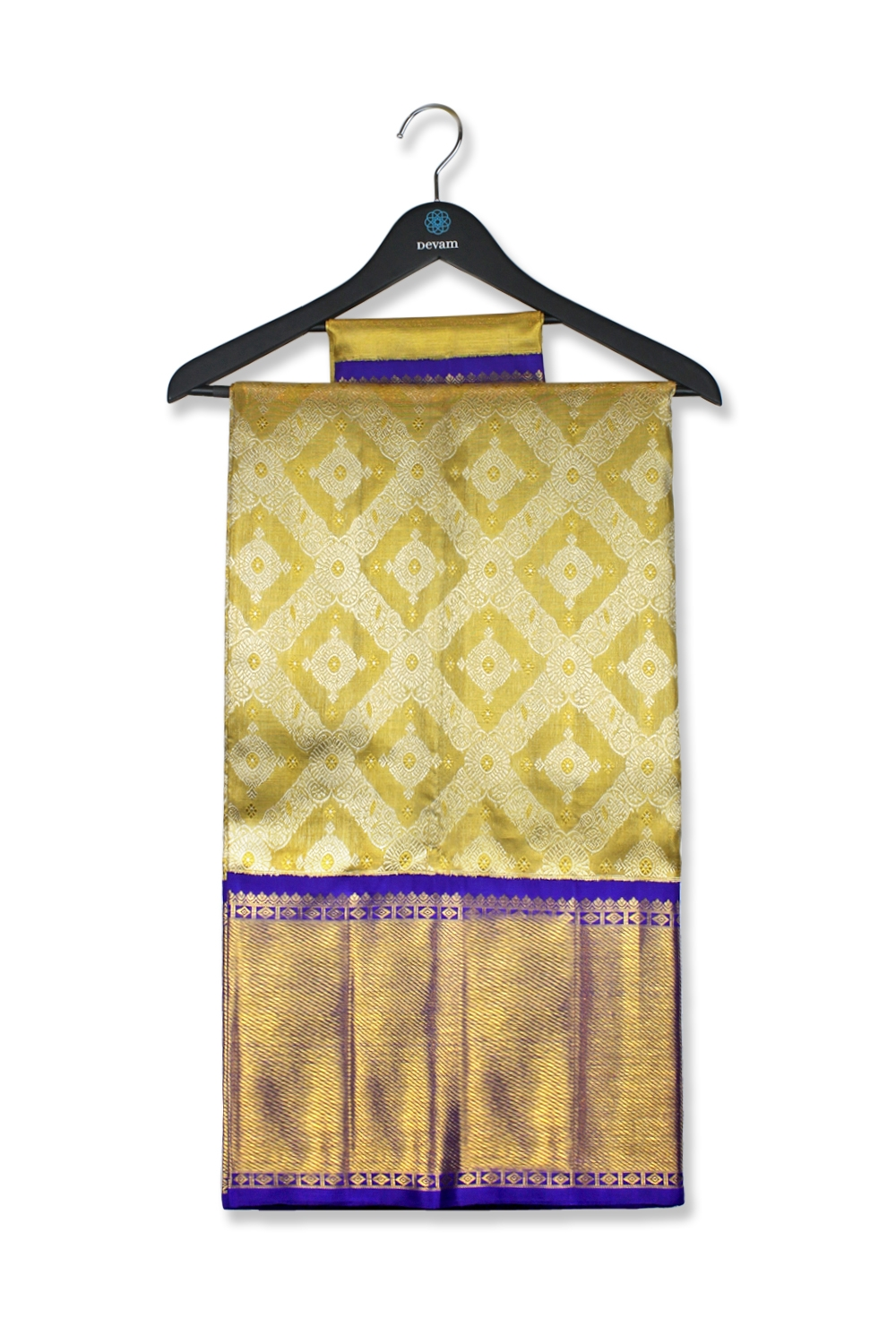 Real Jari Gold And Royal Blue Checked Silk Kanjeevaram Saree