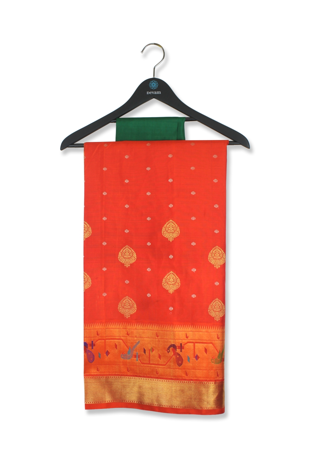 Real Jari Sunset Orange Silk Kanjeevaram Saree