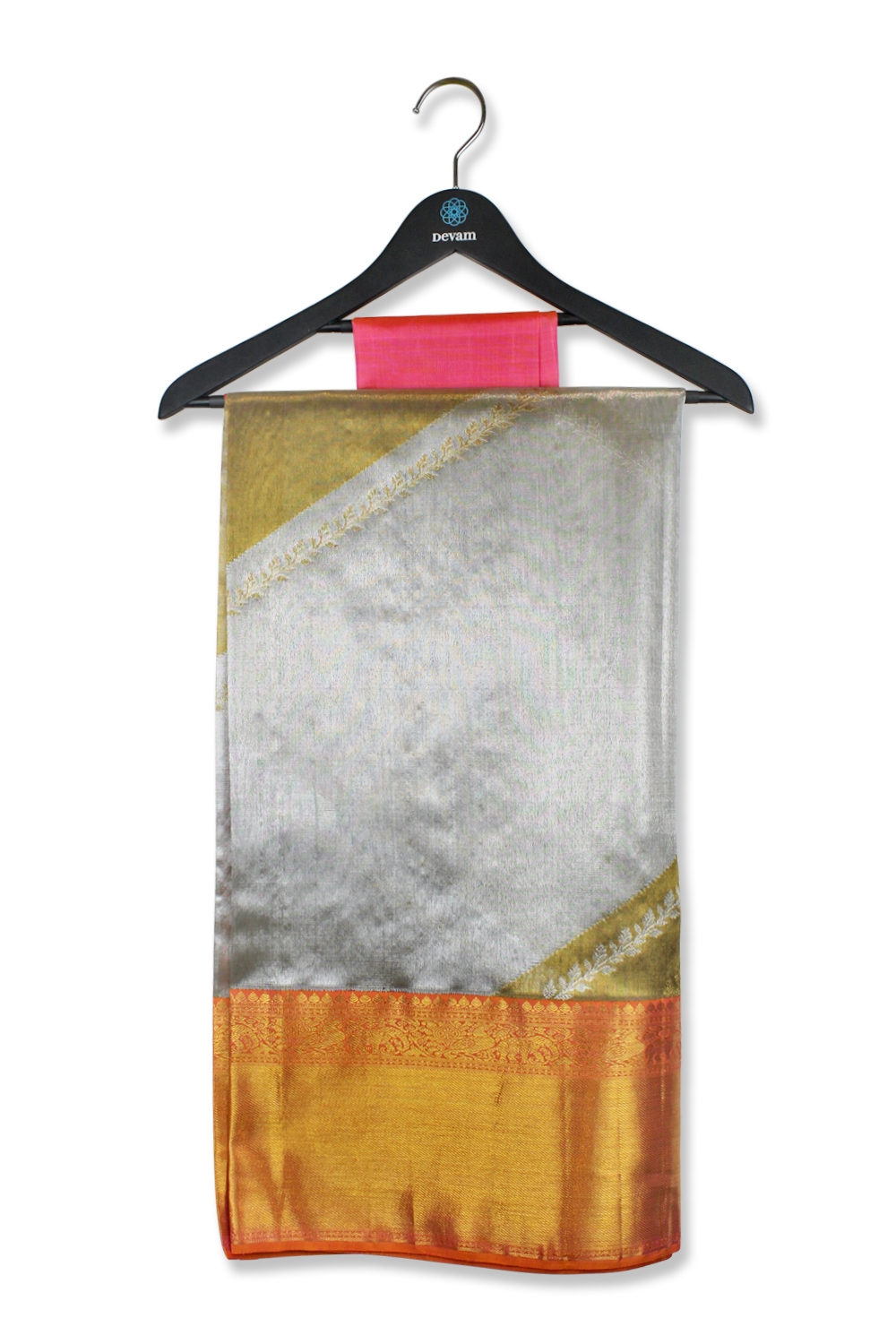 Real Jari Golden Striped Silk Kanjeevaram Saree