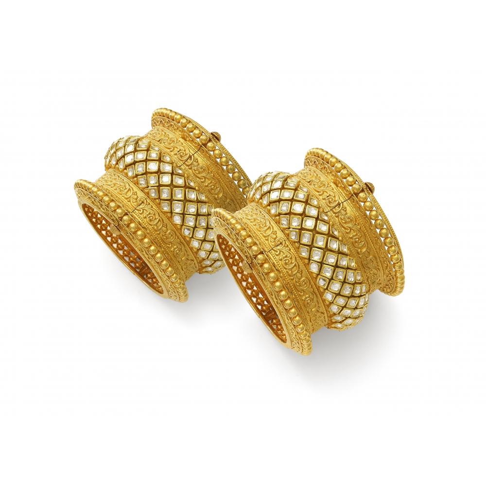 Diamond Cuff Kada Temple Bracelet Pair