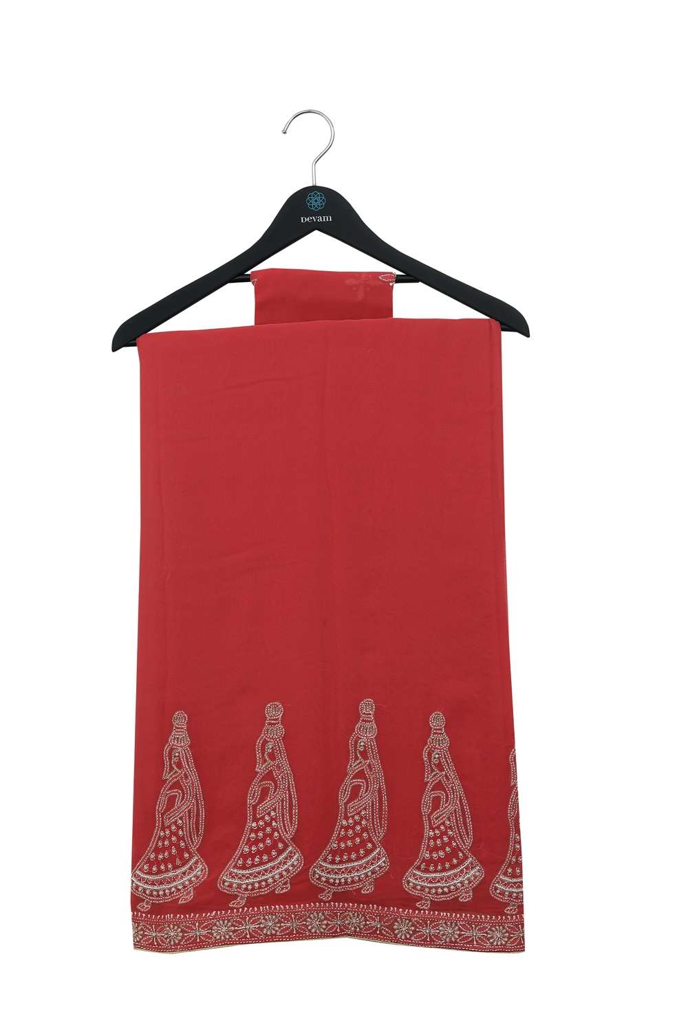 Red Georgette Lucknowi Chakra Saree