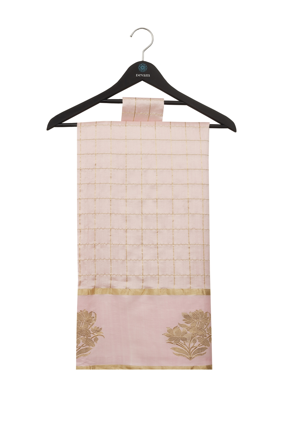 Pink Gold Checkered Floral Handloom Silk Banarasi Saree