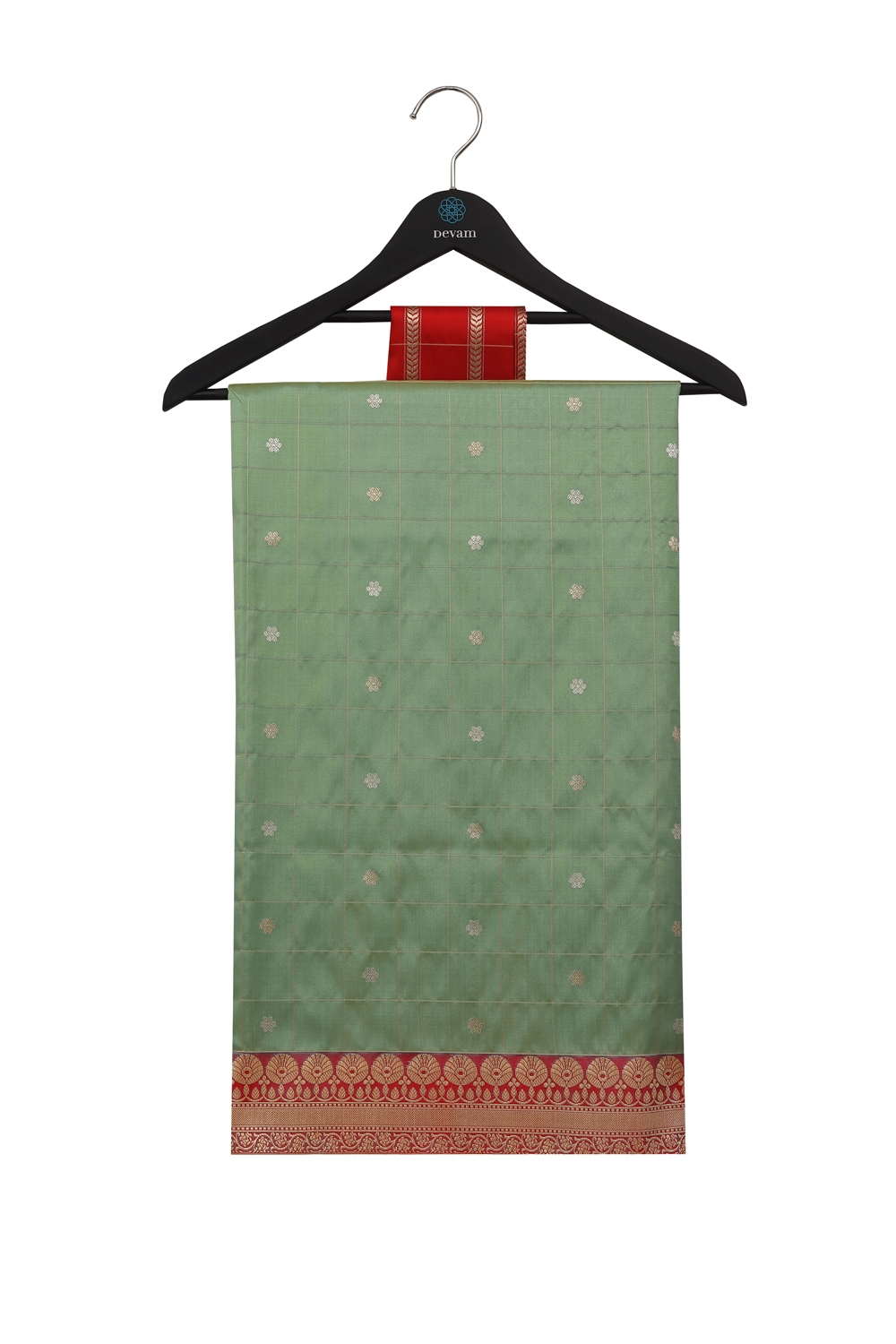 Olive Green & Golden Checked Hand Loom Silk Banarasi Saree