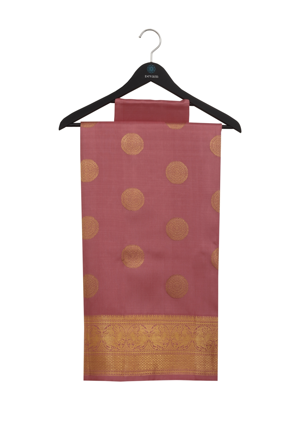 Sunset Pink Real Jari Silk Kanjeevaram Saree