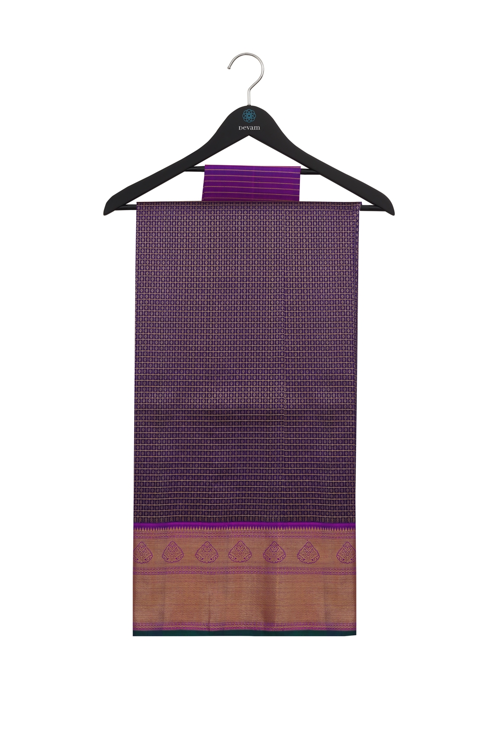 Royal Purple Real Jari Checkered Silk Kanjeevaram Saree