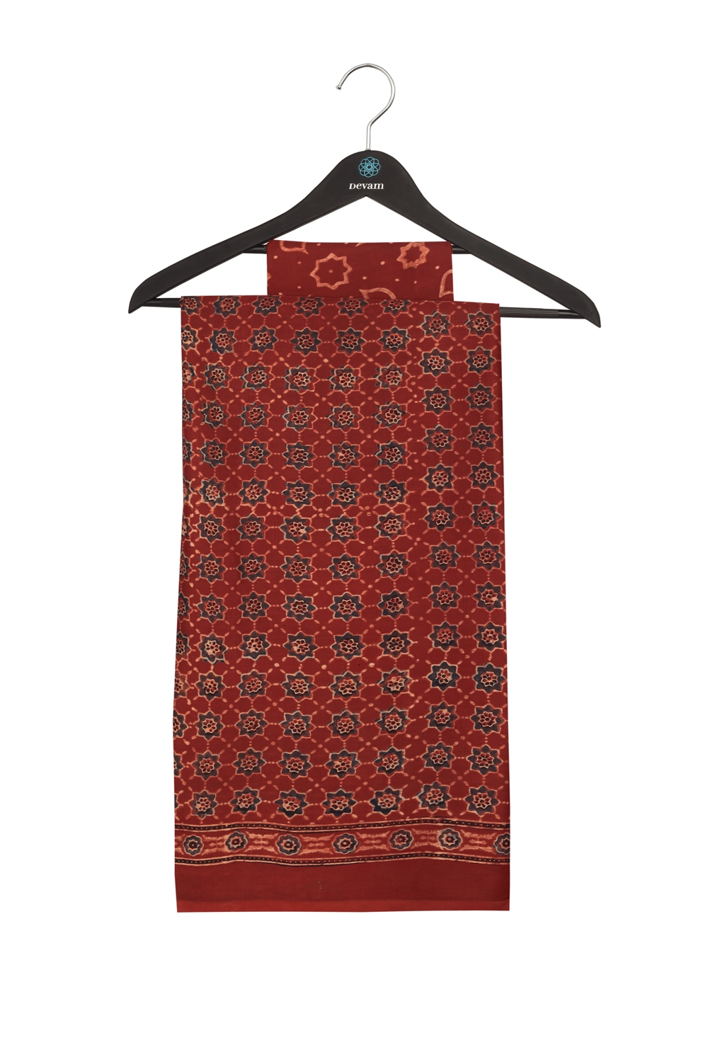 Deep Red Silk Ajarakh Hand Block Printed Saree
