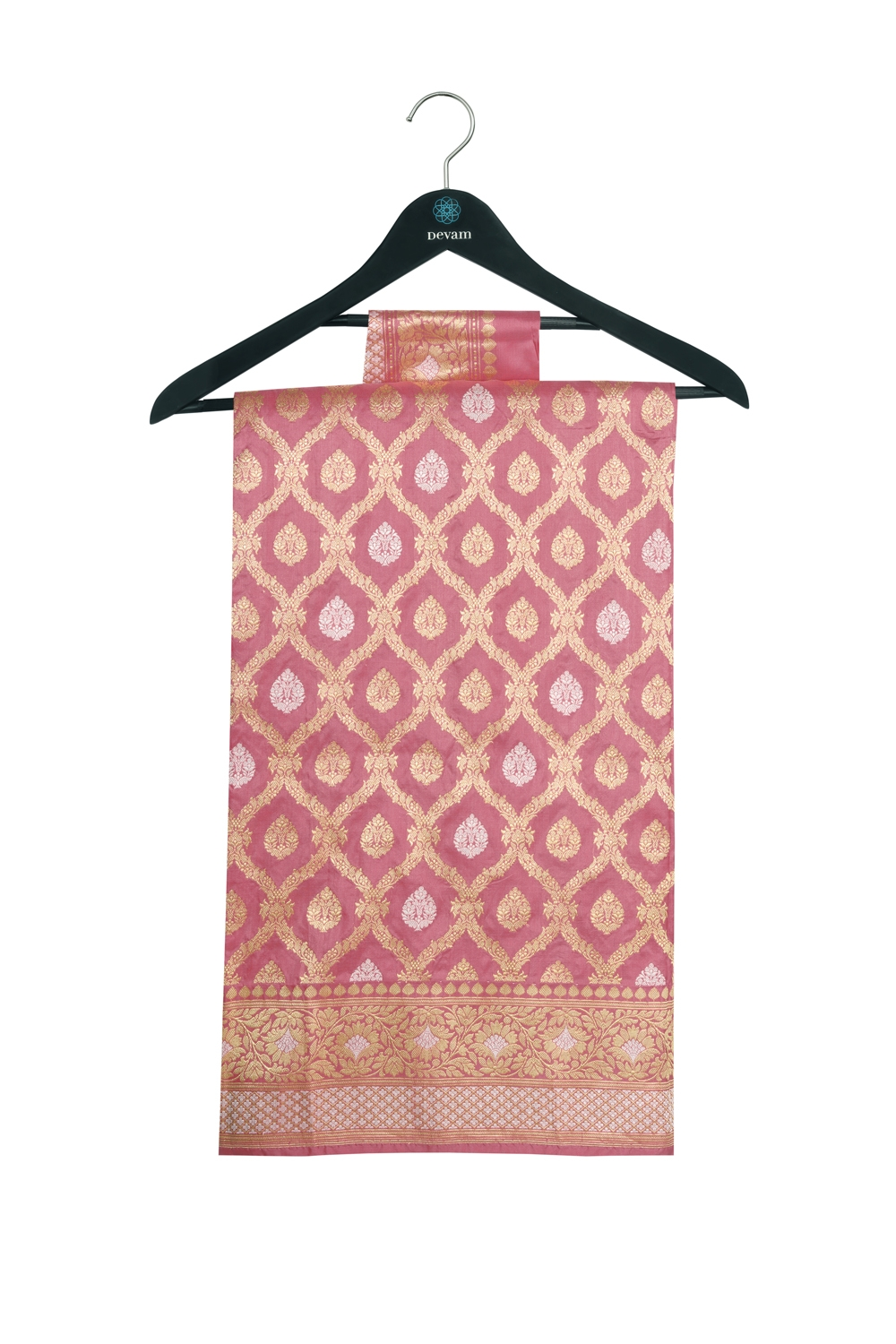 Pink, Gold, And SIlver Brocade Floral Banarasi Silk Saree